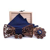 pajarita de madera al por mayor-Pajarita de madera Pañuelo Set Hombres Plaid Bowtie Madera Hueco tallado recortar Diseño floral y Caja Moda Lazos de la novedad