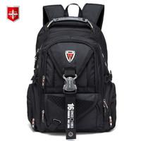 i̇sviçreli seyahat çantaları toptan satış-Su geçirmez Oxford İsviçre Sırt Çantası Erkekler 17 Inç Laptop Sırt Seyahat Sırt Çantası Kadın Bağbozumu Okul Çantaları Rahat Bagpack Mochila Y19061102