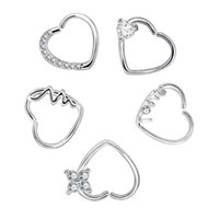 düğme burnu toptan satış-Gümüş Beyaz Kristal Kalp Şekli Vücut Piercing Takı Burun Yüzük Kulak Çiviler Dudak Kaş Piercing Belly Button