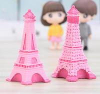 ingrosso fate da giardino in miniatura-Eiffel Tower Resin Craft Miniature Fairy Garden Desktop Room Decorazione Micro Paesaggio Cactus Fioriera regalo Decorazioni per interni GGA2013