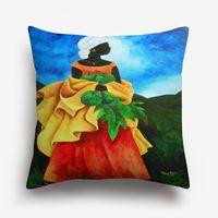Wholesale oil paintings fruits for sale - Group buy Africa Woman Fruit Farmer Cushion Cover Oil Painting Portrait Art Cushion Covers Sofa Throw Decorative Linen Cotton Pillow Case