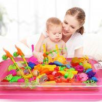 juguetes para niños al por mayor-22 Unids / set Niños Niño Niña Juguete de pesca Juego Traje Juego magnético Agua Juguetes para bebés Fish Square Regalo caliente para niños
