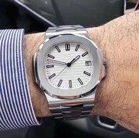 mm atrás venda por atacado-U1 Nautilus Movimento Gravado Automático Homens Relógio de Vidro de Volta Mostrador Branco 316 Relógio de Banda Inoxidável
