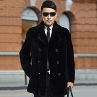 ingrosso giacche in pelle doppia a doppia mensola-Autunno giacca in pelle di visone finto mens inverno addensare caldo Cappotto doppio petto in pelle da uomo slim giacche moda nero 6XL