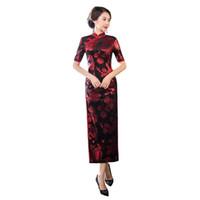 vestidos de terciopelo de china al por mayor-Pop 2019 Shanghai Story Otoño increíble venta Floral Qipao Velvet Cheongsam vestido largo vestido tradicional chino para mujeres