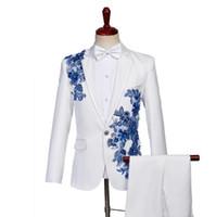 damat takım elbise tasarımları toptan satış-Erkekler için düğün takım elbise blazer erkek balo mariage suits moda ince masculino son ceket pantolon tasarımları koro damat giysi beyaz