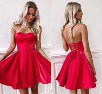 red satin short dresses оптовых-Маленький красный мини короткие платья партии 2020 новый дешевый милая линия атласный корсет назад короткое платье выпускного вечера коктейльное платье BM0940