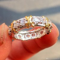 diamantes de cruz de oro amarillo al por mayor-Hotyou Brand Jewlery Women 925 Silver Simulated Diamond Cubic Zirconia Tanzanite Yellow Gold Cross Eternal Band Wedding Ring