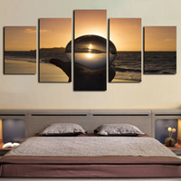 tela de pinturas a óleo do seascape venda por atacado-5 Painéis Canvas Wall Art Cristal Sun Beach Seascape Pictures Pinturas Giclée em tela e quadros Oil Paintngs arte