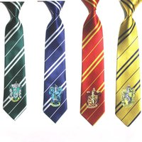 gravata para miúdos venda por atacado-Harry Potter Gravata Gryffindor Slytherin Hufflepuff Ravenclaw Trajes Cosplay Gravata para a Festa de Crianças Cosplay HHAA611