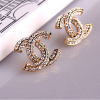 Wholesale free stud earrings resale online - New Arrival Crystal Letter Designer Earrings Bling Pearl Fashion Women Earrings Rhinestone C Stud Earring for Party with Box