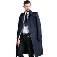 grabenmänner europa großhandel-Männer Langer Trenchcoat Frühling und Herbst Neue Zweireihige Trenchcoat im europäischen Stil für Herren Pea Gentleman Top Jackets