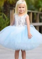 Wholesale cute fluffy dresses resale online - Fashion Sequin Flower Girls Dresses Sleeveless Cute Knee Length Fluffy Tulle Gown First Holy Communion Pageant Dresses