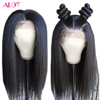 Wholesale afro baby human hair resale online - Afro Kinky Straight Human Hair Wigs Brazilian Remy Hair Lace Frontal Wigs For Women Natural Hairline With Baby Hair Density