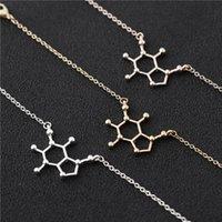 chemie schmuck großhandel-10 STÜCKE Kaffee Dopamin Molekül Armband Chemische Moleküle Wissenschaft Struktur Chemie Molekulare Armbänder für Krankenschwester Schmuck