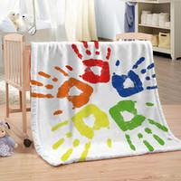 Wholesale bedspreads for king beds online - Dropship Custom DIY Color Printing Blanket for Beds Paisley Thin Quilt Sky Blue Mandala Bedspread x150cm Fleece Throw Blanket