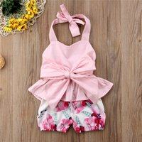 Wholesale cute baby girl clothes summer wear for sale - INS Baby Girls Lace Up Vest Floral Shorts Piece Summer Set Bowknot Bow Sleeveless Tank Top Clothes little Princess Wear A41803