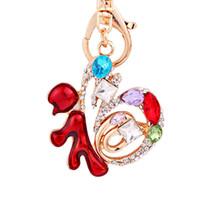 nuevo llavero afortunado al por mayor-Caracteres chinos de Lucky Keychain Women New Year Christmas Charm Gifts Crystal Keyring