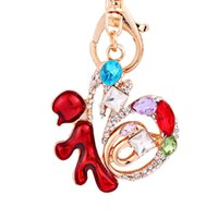 Wholesale new lucky keychain resale online - Chinese Characters of Lucky Keychain Women New Years Christmas Charm Gifts Crystal Keyring