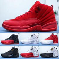 zapatos de baloncesto de color canela al por mayor-De primera calidad Jumpman XII Gimnasio Red Bulls Vachetta Tan Navy Michigan Deportes Retro Zapatos de baloncesto Baratos Hombres entrenadores 12s Suede EE. UU. 7-12