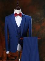 blazers de tres piezas para hombre. al por mayor-Personalizado esmoquin 2019 el último traje de los hombres delgados de primavera chaqueta de tres piezas pantalones chaleco chaqueta personalizada