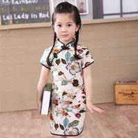 ko groihandel-2020 Baby Mädchen Chinesisches Kleid Qipao Kleidung Sommer Artkind Baumwolle Hülse Kurz Traditionelle Kleider fo Kinder New Year Party