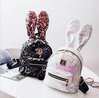 Wholesale travel backpack for sale - Women Sequins Backpack Cute Rabbit Ears Double Shoulder Bag Backpacks Children Girls Sequined Travel shoulder bags MMA1343