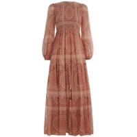 bolha hubble venda por atacado-Novo vestido de crepe dobra do vintage vestido de manga comprida de algodão misturado impressão hubble bolha manga vestido