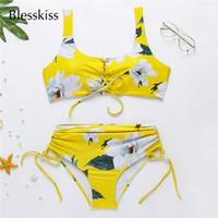 traje de baño acolchado amarillo al por mayor-Blesskiss Bikini de cintura alta amarillo 2019 Traje de baño para mujer Acolchado Push Up Traje de baño de dos piezas Traje de baño Conjunto de bikini de natación