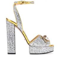 modell sandalen großhandel-2019 High Heel Plattform Sandalen Marke Designer Frauen Sommer Runway Heels Peep Toe Modelle Fottwear Schuhe Luxus Designer Kette Schuhe S808