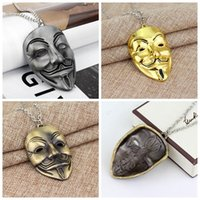 Wholesale boys necklace pendants for sale - Group buy Jewelry V For Vendetta Mask Necklace Men Jewelry Beautifully Charm Pendant Necklace Cuban Link Chain Metal Jewelry Mens Necklaces RRA2022