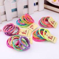 tüy kravat toptan satış-10 adet / grup Renkli Tiny Bebek Kız Saç Kravatlar Hiçbir Kırışık Saç Bantları Toplu Lastikler At Kuyruğu Sahipleri Çevre 9 cm