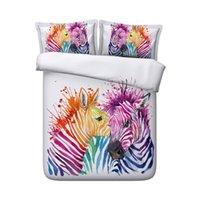 ingrosso farfalla comforter piena-Bambini Ragazze Ragazzi Cartoon Zebra Farfalla Acquerello Modello Trapunta Copripiumino Set biancheria da letto Zipper Chiusura Zebra Biancheria da letto completa