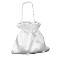 weiße satin tasche großhandel-Weiß Brautbrautjunfer Satin Blume dekoriert Dolly Tasche Handtasche (Blumen-Perlen)