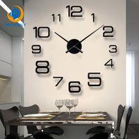 projetos 3d acrílicos venda por atacado-Sala de estar 3d grande relógio de parede diy espelho grande adesivos de parede relógio de quartzo acrílico espelho design moderno decoração de casa