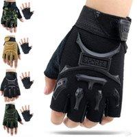 детские пальцевые рукавицы оптовых-Велосипедные перчатки без пальцев 5-13 лет Kids Army Тактические перчатки без пальцев Противоскольжения Половина пальца варежки велосипеда Дети дети протектор ZZA679