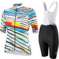 Wholesale professional cycling shorts resale online - 2019 Morvelo professional team summer women cycling short sleeve suit breathable bib shorts bike clothing silicone pad