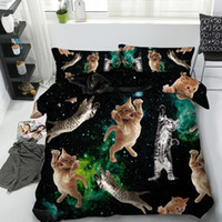 Wholesale teen bedding sets full online - 3D galaxy cats Bedding Sets Duvet Cover bedspreads Bed Linen kids twin for girls boys teens adult dinosaur Pillow Shams without comforter