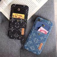 iphone jeans case toptan satış-Kumaş Kot Kart Yuvası Cüzdan Kılıfı Kapak Moda Durumda Buzlu Çiçek Baskı giyim Telefon iPhone XS için Max XR 6 s 8 Artı