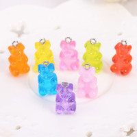 Wholesale 32pcs resin gummy bear candy necklace charms very cute keychain pendant necklace pendant for DIY decoration