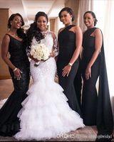 châles noirs de demoiselle d'honneur achat en gros de-Robes de demoiselle d'honneur longues africaines noires avec châle nouvelle longueur de plancher sirène sans manches de mariage formel Gust robe demoiselles d'honneur sur mesure
