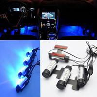 innen blaue led leuchtet autos großhandel-Großhandel Hohe Qualität Blau 4 in 1 12 V 4x 3 LED Auto Fuß Auto Innenleuchte Dekorative Atmosphäre Licht Lampe Auto Styling