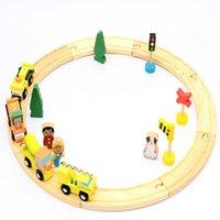 ingrosso track puzzle-Diecast Veicoli giocattolo Bambini Giocattoli Toy Train Model Cars Puzzle di legno Slot Costruire Rail Track