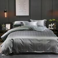 ingrosso set di lenzuola di lusso marrone-Stripe Grey Brown Queen King Size Set biancheria da letto in cotone di lusso set biancheria da letto lenzuola copripiumino parrure de lit ropa de cama