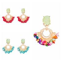 Wholesale hanging pendants resale online - Natural Stone Drop Dangle Earrings Fashion Boho Women Party Punk Ethnic Hanging Pendant Earring Trendy Wedding Jewelry TTA1146