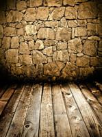falten zauberstab groihandel-5x7ft Buff Stones Wand Holzfußboden Benutzerdefinierte waschbar Einteiler Keine Falten Banner Fotostudio Hintergrund Hintergrund Polyestergewebe