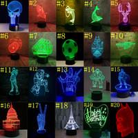 lâmpada led usb 5v venda por atacado-3D LED Night Light 7 Interruptor de Toque de Cor luzes led USB Acrílico 3d ilusão óptica lâmpada Atmosfera Novidade Iluminação