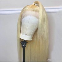 ingrosso ombre pizzo frontale-Parrucche per capelli umani in pizzo pieno Biondo Ombre 613 Lungo rettilineo vergine brasiliano Glueless trasparente parrucca frontale in pizzo HD