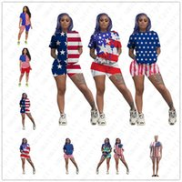 flag colors 2021 - 8 Colors Women Summer Shorts Suit USA America Flag Statue of Liberty Printing Tshirts Short Sleeve Sports Casual Outfits TracksuitD52702