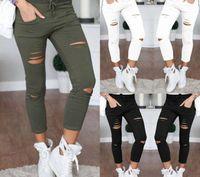Wholesale hole leggings hollow resale online - New Women Fashion Slim Hole Sporting Leggings Fitness Leisure Sporting Feet Sweat Pants Hollow trousers Colors